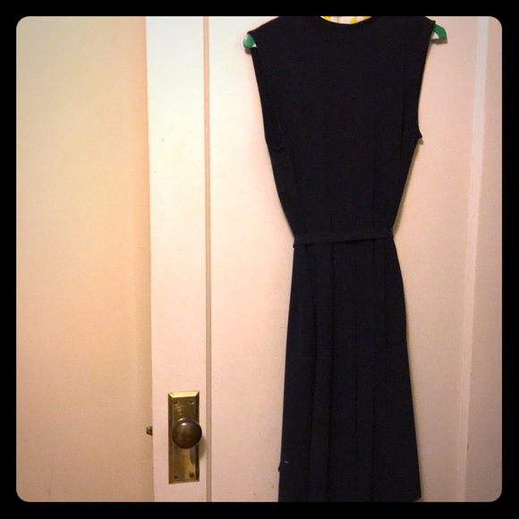 cb8eeda6f8 Uniqlo Dresses | Dark Navy Sleeveless Pleated Belted Dress | Poshmark